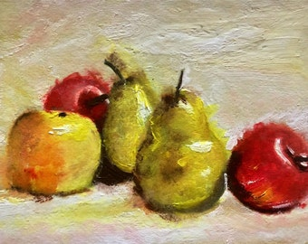 "Fruit still life original oil painting 5""x7"" hand-painted greeting card small artwork kitchen decor small painting"