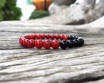 6 mm Ruby and Onyx stone bracelet, Stone bracelets, Beaded bracelets, Beadwork bracelets, Stretch Bracelet, Gemstone Bracelet, Onyx, Ruby