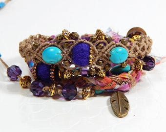 Turquoise and plum wrap bracelet
