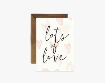 Lots of Love Card + Kraft Envelopes --- G007
