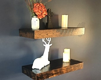 "Barnwood Floating shelves - 30"" Floating shelf - Rustic shelves - Dispaly shelves - 30""x10""x3"" - (Price is for one shelf)"