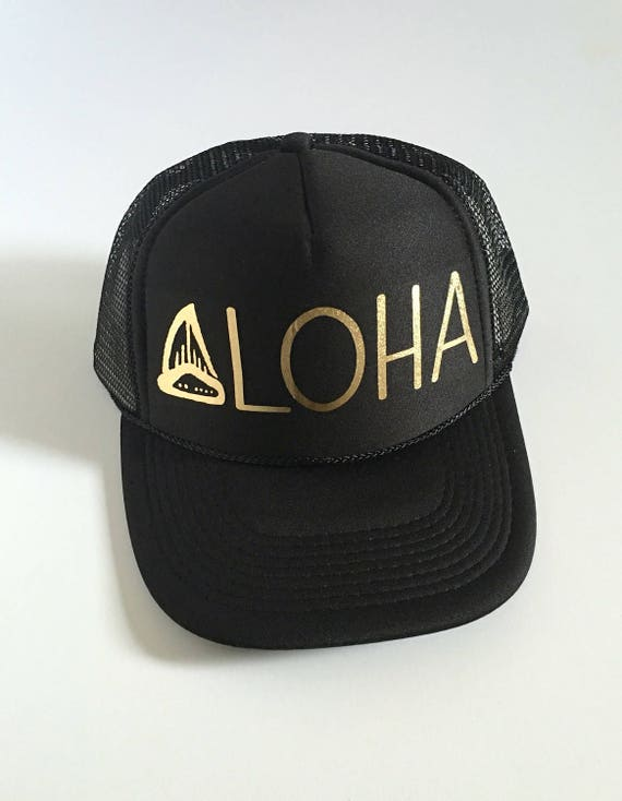 Shark Aloha Hat | Hawaii Hat| Trucker Hat | Beach Hat|Black with gold vinyl design