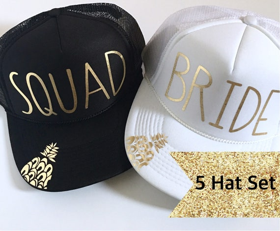 5 Bride Squad Hat SET| Bride Hats| Bachelorette Hats| 1 White Bride, 4 Black Squad Hats-with Gold Vinyl lettering