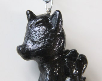 Black unicorn pony cute little pony unique black necklace weird art doll jewellry creepy art collection harajuku artdoll epoxy resin giftbox