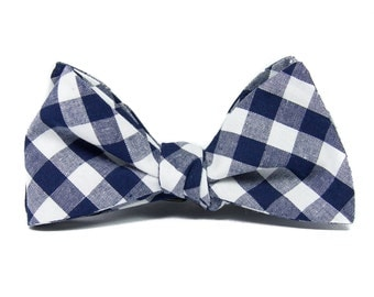 Navy white checked bow tie, Men's blue white check self tie cotton bow tie, gingham gift for him
