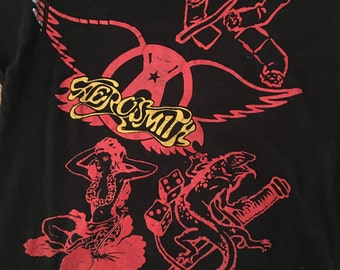 Vintage 80s Aerosmith Concert Tshirt - Vintage Permanent Vacation Concert Tour Tee - M/L * Made In USA