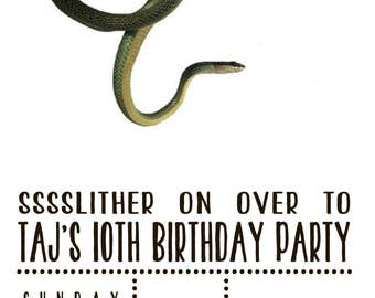 Snake Reptile Birthday Party Invitation Digital Download File