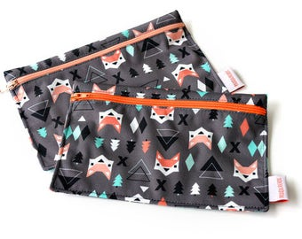 2 Reusable snack bags - Geometric fox