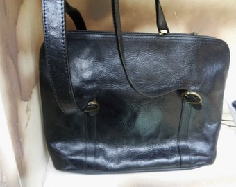 "Large leather shoulerbag  ,vintage satchel-bag French Leather handbag,Handbag""Katana"""