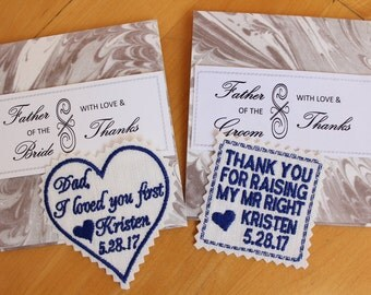 Set of 2 Wedding tie patches for Father in Law, Father of the Bride, GIFT Boxes included, ready to give, wedding favor, best gift for dad,