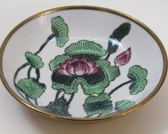 Vintage Chinese Cloisonne Brass  Encased Porcelain Lotus Floral Bowl