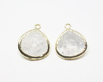 G000619P/Cracked Crystal/Anti tarnished Gold plated over brass/Pear shape framed faceted glass pendant/16mm x 18.5mm/2pcs