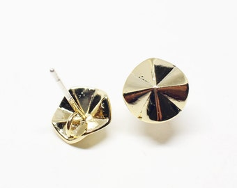 E0118/Anti-Tarnished Gold Plating Over Brass+Sterling Silver Post/Origami Circle Stud Earrings/9x9mm/2pcs