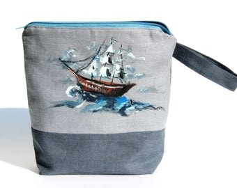 Gray Linen: Linen Make Up Bag with Hand Painted Vibrant Sailboat ; Organic Blue Zippered Cosmetic Pouch/ Large Toiletries Case/ Beauty Bag