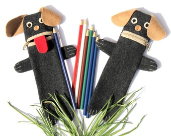 Gray Dog Pencil Case: Small Puppy Children's Pen Pouch. Funny and Cute Animal Zippered Pencil Bag. Kids Pet Crayon Organizer, Dogs Bag, Pug