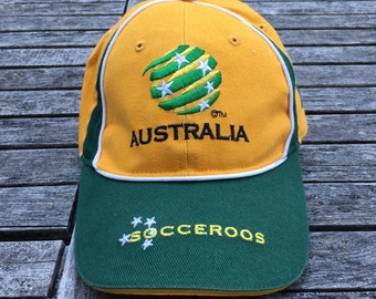 Vintage 90's Australian Soccer Socceroos Strap Back Coat Of Arms Hipster Dad Cap Retro Sportswear Soccer Australia Strap Back Dad Cap Aussie