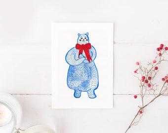 Blue Bear Minimalist Poster