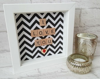 Scrabble Art - Love - Valentine - Engagement - Anniversary - Scrabble Gift Frame - Scrabble Word Art - Keepsake