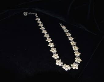 Vintage Bogoff Rhinestone Five Petal Flower Necklace