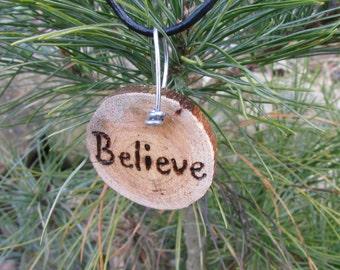 Believe Necklace, Believe Jewelry, Believe, Believe Rustic Necklace, Rustic Inspirational Necklace, Faith Necklace, Wood Slice Necklace