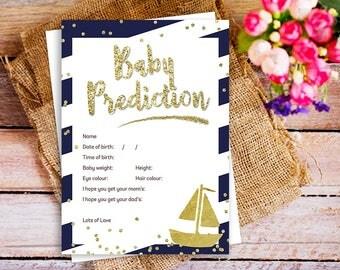 Nautical baby prediction cards, baby prediction, baby shower prediction cards, baby shower games printable, prediction for the baby