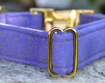 Sofia. Dog Collar, Purple, Gold Metallic, Swirls, Boy, Girl, Gold Hardwares, Metal Hardwares