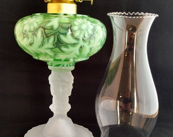 Three Face Pattern Glass Oil Lamp Made in USA in Green Opalescent Daisy & Fern Fount over Etched Crystal Base. Great Wedding Present!