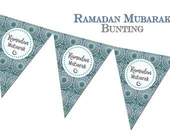 Ramadan Mubarak Bunting, Zellige - Ramadhan Decorations, Decor, Banner