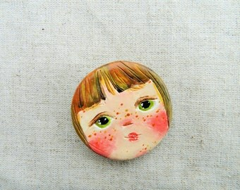 air dry clay cure face magnet girl art ooak clay magnet