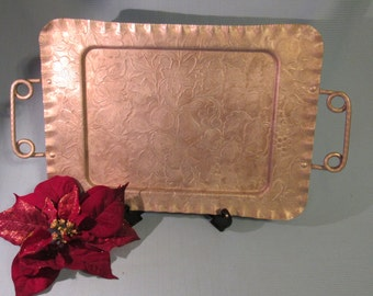 Vintage Aluminum Tray for Serving With Hammered Handles