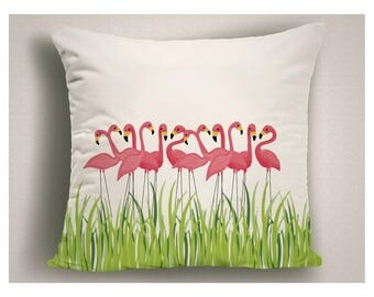Flamingo Outdoor Pillow, Unique Decorative Patio Pillow Cover, Pink Flamingo Throw Pillow for Patio, Unique Outdoor Pillow Cushion