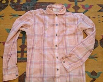Vintage Blush Colored Plaid Button Up
