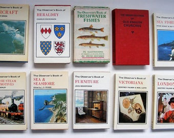 Ten original vintage Observer hardback books