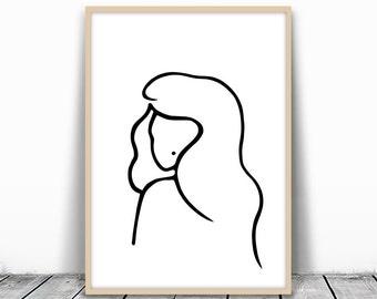 Modern Art Print, Woman Portrait, Fashion Print, Minimalist Print, Modern Wall Art, Feminine Art, Black and white line, Sketch Art, Download