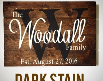 Last name wood sign, custom wood sign, wood last name sign