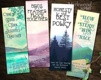 Aesop's Fables Bookmarks    Printable Set of 4 Aesop's Fables Bookmarks    Tortoise and the Hare    Birds of a Feather   Lovely Bookmarks