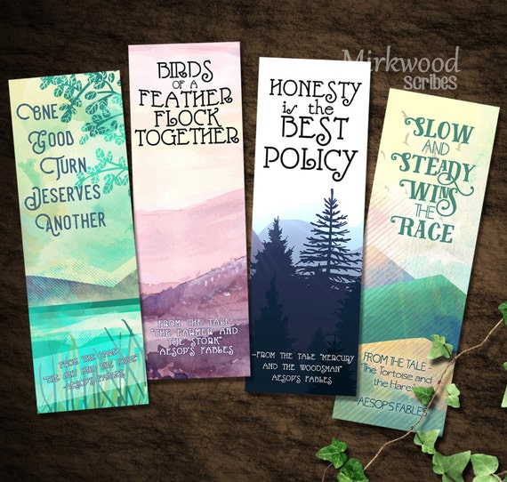 Products Bookmarks Design Inspiration And: Aesop's Fables Bookmarks Printable Set Of 4 Aesop's