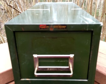 Vintage Asco Green Metal File Drawer
