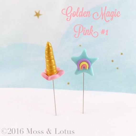 Gold/PINK Unicorn Horn & Star w/ Rainbow Pin Topper (2 piece set) SEWING QUILTING