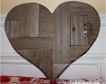 Reclaimed BarnWood Door Vintage Key Primitive Recycle Salvage Heart Valentine Wedding Gift Sweetheart Wall Art Decor by Junkwhisperer.com