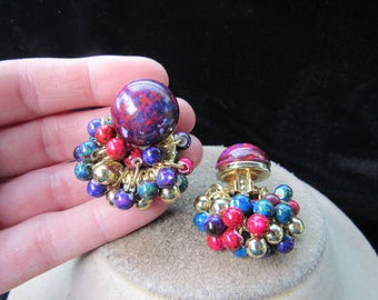 Vintage Pair Of Chunky Multi Colored Beaded Dangle Clip Earrings