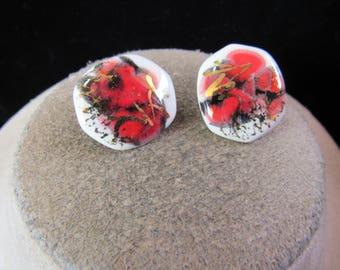 Vintage Pair Of Red Black White Ceramic Pierced Earrings