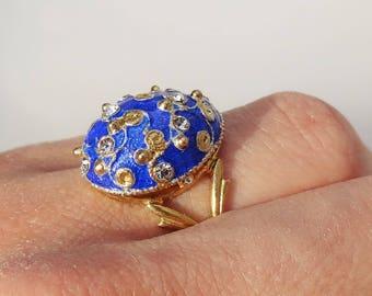 """Faberge """"Blue and Gold"""" Egg Ring. golden.enamel.Swarovski crystals"""