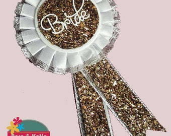 Bride To Be Rosette - Gold Glitter - Bridal Shower - Hen party badges