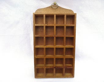"""Wooden Thimble Holder, 24 Section Wall Miniature Display Case, 10.25"""" x 5.25"""" x 1.25"""", Gold Metal Hoop, Excellent Vintage Condition"""