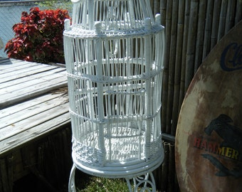 Large White Wicker Rattan Bird Cage On Wicker Wrought Iron Wrapped Stand