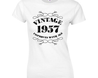Women's 60th Birthday T Shirt Funny Vintage 1957 60th Birthday Gifts *GIFT BOXED free of charge!*