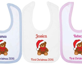 Personalised First Chirstmas 2016 Baby Bib With Teddy Bear. Available in WHITE, PINK or BLUE