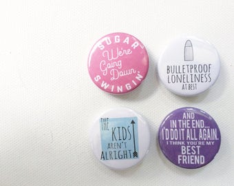 Fall Out Boy inspired button pin set // button badges // the kids aren't alright, sugar we're going down swinging, lyrics buttons
