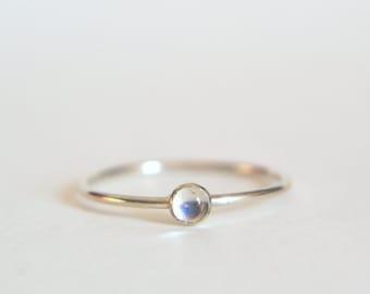 Sterling Silver Moonstone Ring, Moonstone Ring Silver, Moonstone Ring Sterling Silver, Rainbow Moonstone Ring, Stacking Ring, Stackable Ring